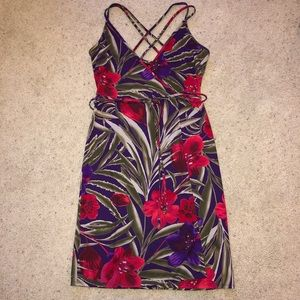 EXPRESS Matte Jersey Floral Wrap Dress